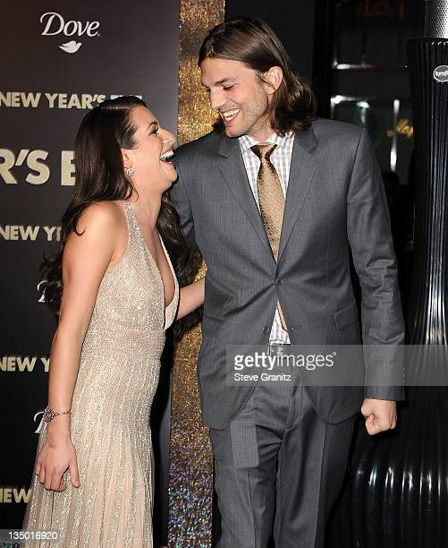 "Lea Michele and Ashton Kutcher attends the Los Angeles premiere of ""New Year's Eve"" at Grauman's Chinese Theatre on December 5, 2011 in Hollywood,..."