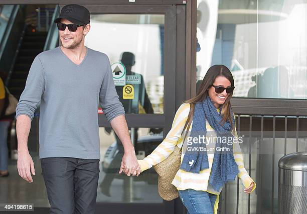Lea Michele and Cory Monteith are seen at Los Angeles International Airport on January 05 2013 in Los Angeles California