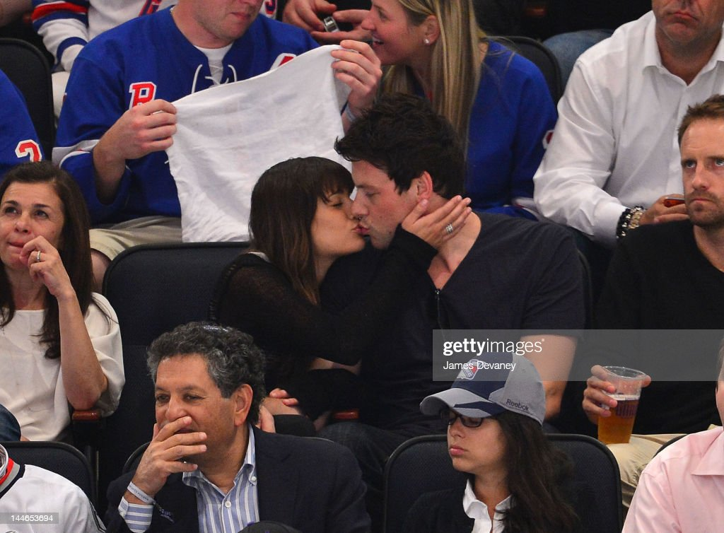 Lea Michele and Cory Monteith attend New York Rangers vs New Jersey Devils playoff game at Madison Square Garden on May 16, 2012 in New York City.