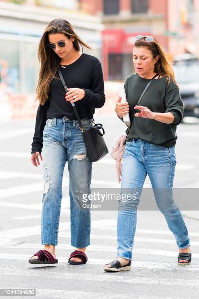 Lea Michele and Edith Sarfati are seen in NoHo on October 1 2018 in New York City
