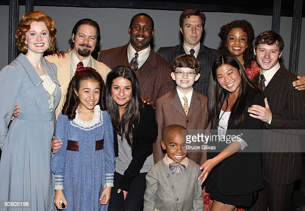 Lea Michele and Jenna Ushkowitz pose with the cast backstage at the hit revival of Ragtime on Broadway at The Neil Simon Theater on November 1 2009...
