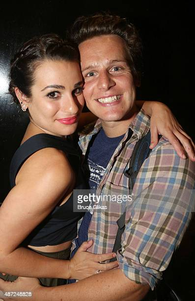 Lea Michele and Jonathan Groff pose at the Diamond Horseshoe/The Paramount Hotel Bar Grill on September 7 2015 in New York City Lea Michele saw...