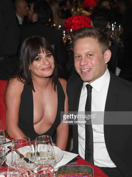 Lea Michele and Zandy Reich attends Elton John AIDS Foundation 26th Annual Academy Awards Viewing Party at The City of West Hollywood Park on March 4...