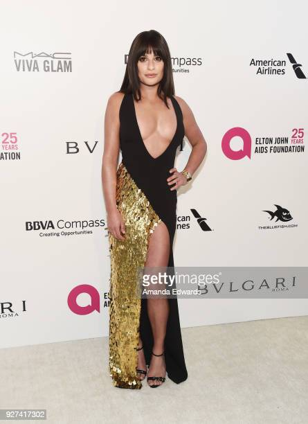 Lea Michele arrives at the 26th Annual Elton John AIDS Foundation's Academy Awards Viewing Party on March 4 2018 in West Hollywood California
