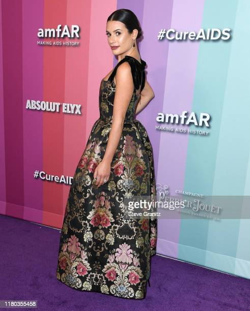 Lea Michele arrives at the amfAR Gala Los Angeles at Milk Studios on October 10, 2019 in Los Angeles, California.