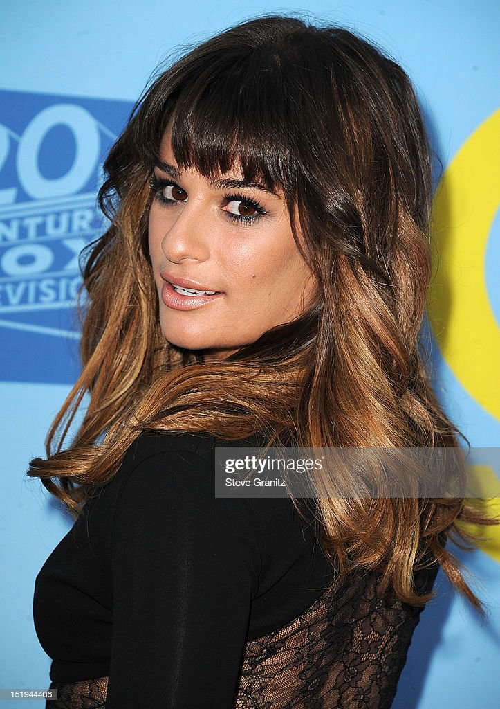 Lea Michele arrives at the 'GLEE' Premiere Screening And Reception at Paramount Studios on September 12, 2012 in Hollywood, California.