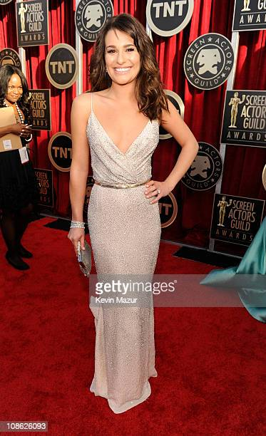 Lea Michele arrives at the TNT/TBS broadcast of the 17th Annual Screen Actors Guild Awards held at The Shrine Auditorium on January 30 2011 in Los...