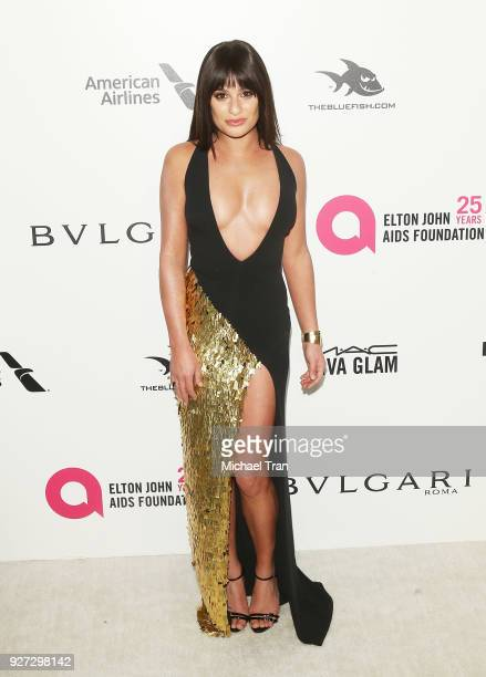 Lea Michele arrives to the 26th Annual Elton John AIDS Foundation's Academy Awards Viewing Party held at West Hollywood Park on March 4 2018 in West...