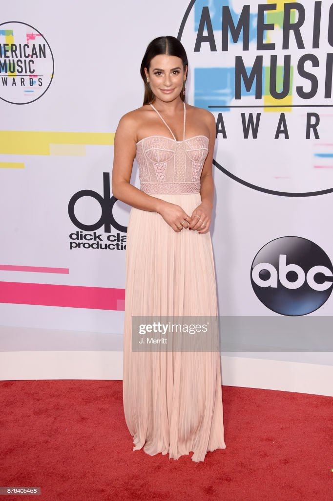 Lea Michele attends 2017 American Music Awards at Microsoft Theater on November 19, 2017 in Los Angeles, California.