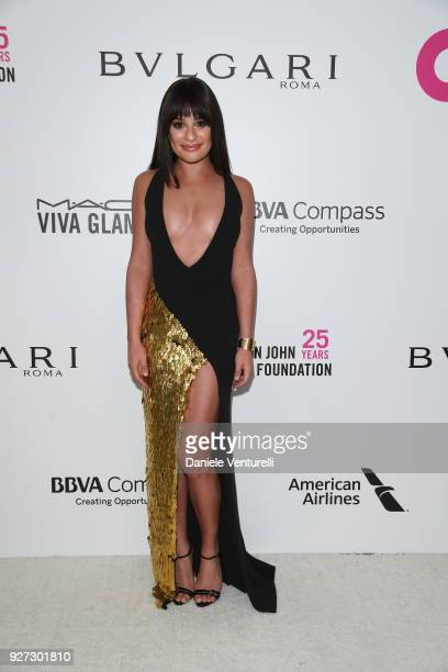 Lea Michele attends Elton John AIDS Foundation 26th Annual Academy Awards Viewing Party at The City of West Hollywood Park on March 4 2018 in Los...