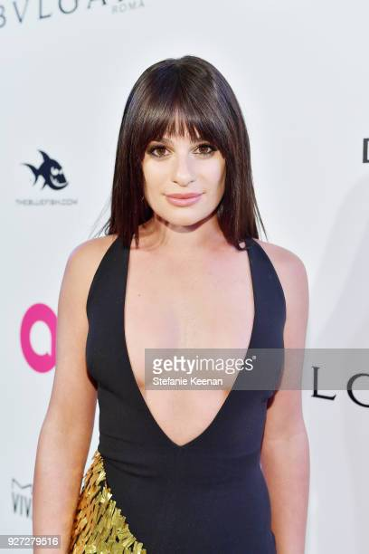 Lea Michele attends the 26th annual Elton John AIDS Foundation Academy Awards Viewing Party sponsored by Bulgari celebrating EJAF and the 90th...