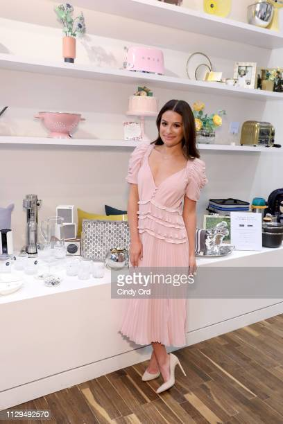 Lea Michele attends the Zola NYC PopUp Store Wedding Invites Paper Launch on February 13 2019 in New York City