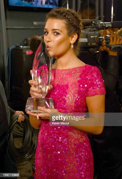 Lea Michele backstage during 2013 People's Choice Awards at Nokia Theatre LA Live on January 9 2013 in Los Angeles California