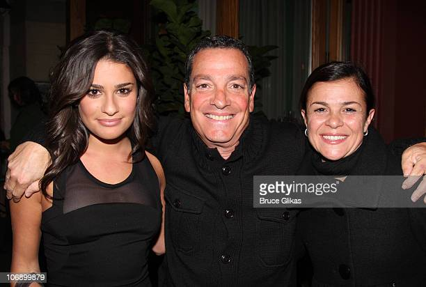 Lea Michele her father Marc Sarfati and mother Edith Sarfati pose as they attend the hit rock musical Rock of Ages on Broadway at The Brooks Atkinson...