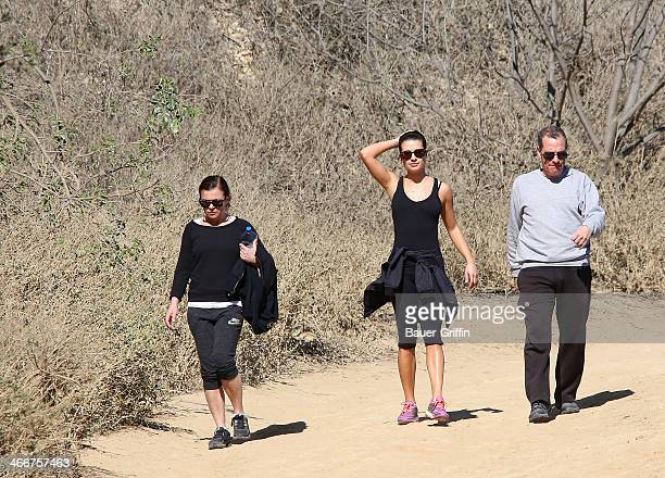 Lea Michele is seen going for a hike with her parents Marc Sarfati and Edith Sarfati on February 03 2014 in Los Angeles California
