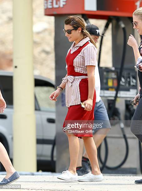 Lea Michele is seen on the set of 'Sons of Anarchy' on July 29 2014 in Los Angeles California