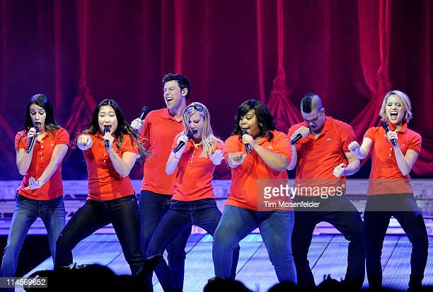 Lea Michele, Jenna Ushkowitz, Cory Monteith, Heather Morris, Amber Riley, Mark Salling, and Dianna Agron perform during the Glee Live! Tour 2011 at...