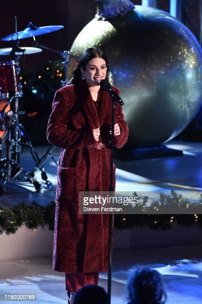 Lea Michele performs onstage at the 87th Annual Rockefeller Center Christmas Tree Lighting Ceremony at Rockefeller Center on December 04 2019 in New...