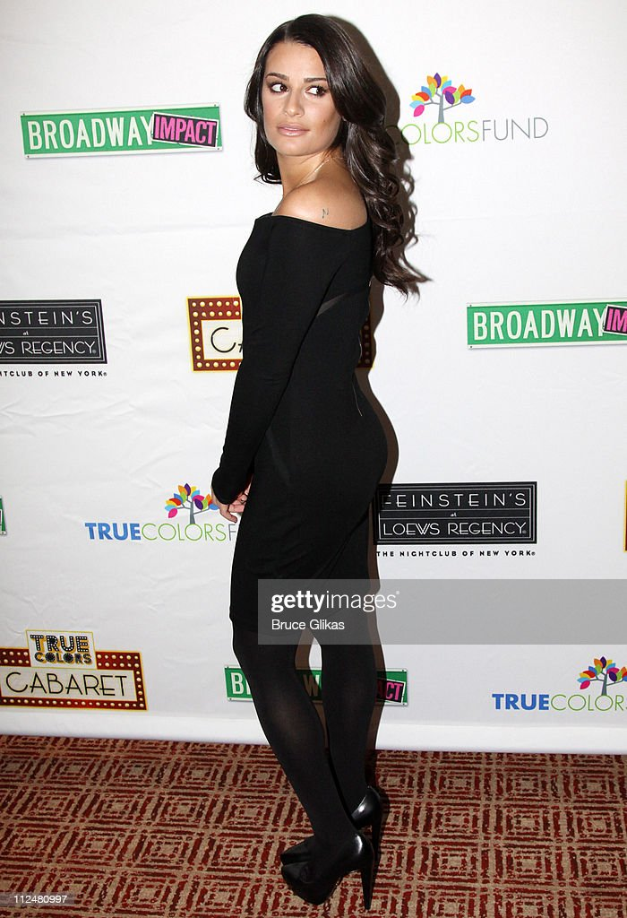 Lea Michele poses at the 'True Colors Cabaret' presented by True Colors Tour, Broadway Impact and True Colors Fund at Feinstein's at the Regency on November 29, 2009 in New York City.