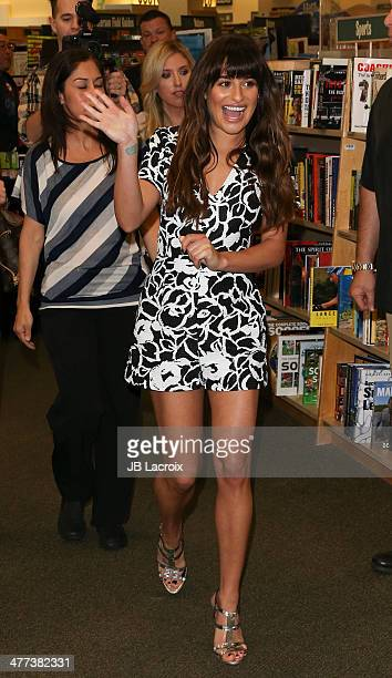 Lea Michele signs copies of her new album 'Louder' at Barnes Noble bookstore at The Grove on March 8 2014 in Los Angeles California