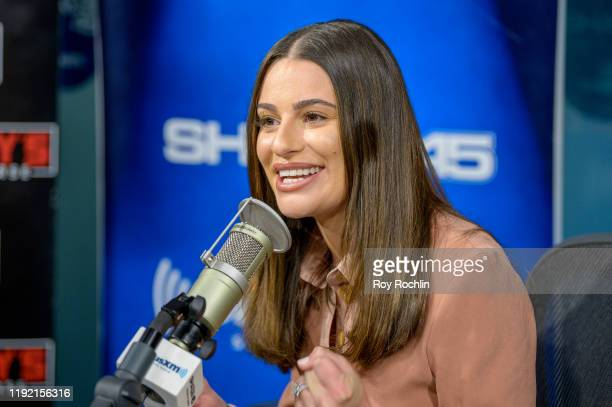 "Lea Michele visits ""Sway's Universe"" with host Sway Calloway at SiriusXM Studios on December 05, 2019 in New York City."