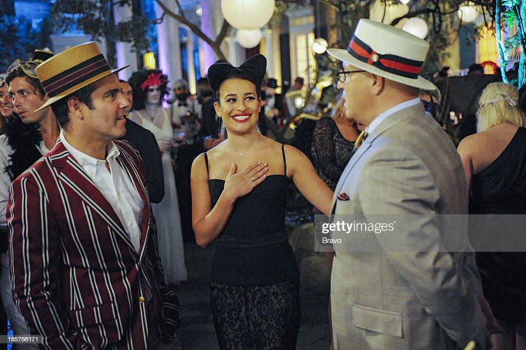 TOP CHEF -- 'Lea Michelle's Halloween Bash' Episode 1105 -- Pictured: (l-r) Andy Cohen, Lea Michele, Tom Colicchio --