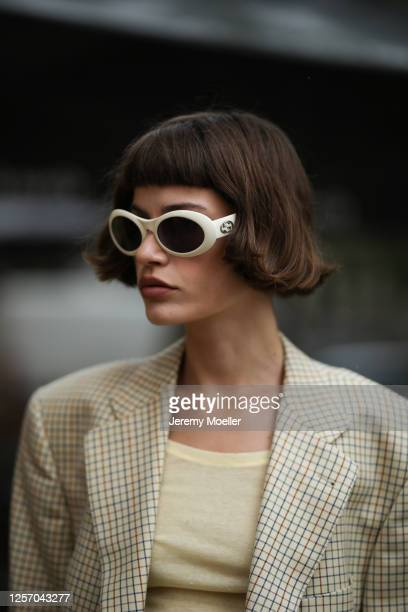 Lea Neumann wearing American Vintage top, Gucci shades and Burberry blazer on July 15, 2020 in Berlin, Germany.