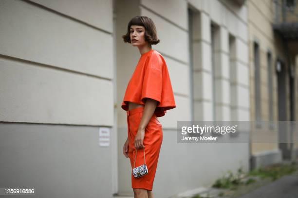 Lea Neumann wearing Fendi California Sky bag and Nobi Talai two piece on July 15, 2020 in Berlin, Germany.