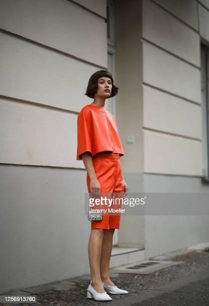 Lea Neumann wearing Fendi California Sky bag, Nobi Talai two piece, Topshop heels on July 15, 2020 in Berlin, Germany.