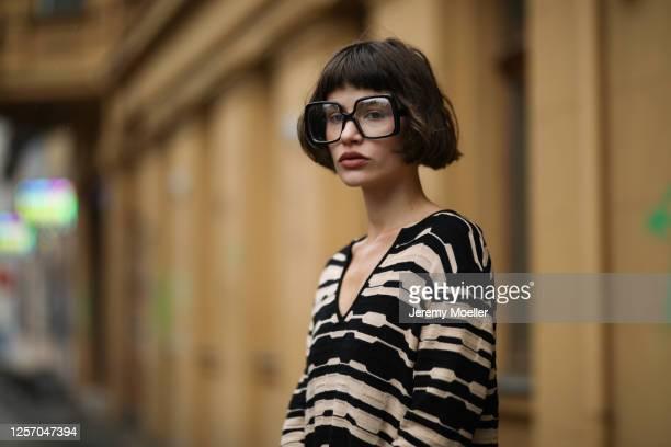 Lea Neumann wearing Missoni dress and vintage glasses on July 15, 2020 in Berlin, Germany.