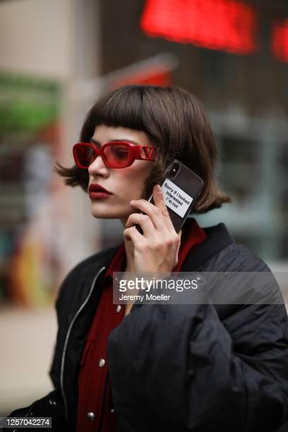 Lea Neumann wearing Otto d'ame jacket, Valentino shades and Zara Bomberjacket on July 15, 2020 in Berlin, Germany.