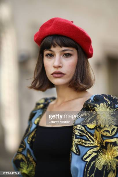 Lea Neumann wearing Stine Goya dress and H&M barett on May 06, 2020 in Berlin, Germany.