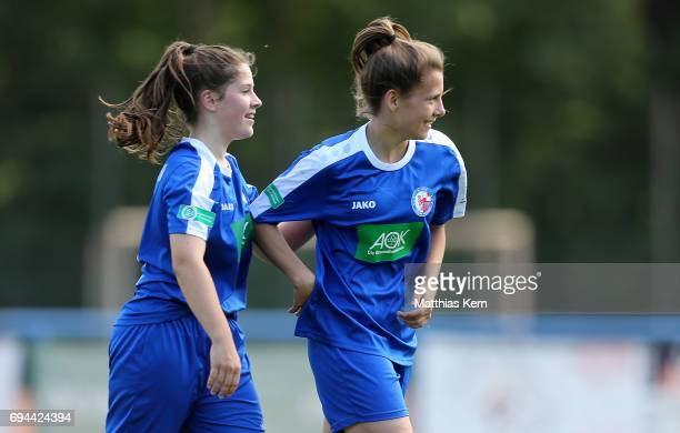 Lea Nitschke of Potsdam jubilates with team mate Lea Sophie Bahnemann after scoring the second goal during the B Junior Girl's German Championship...