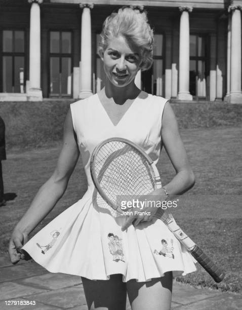 Lea Pericoli of Italy poses for a photograph during Lady Domini Crosfield's lawn tennis tournament at the Witanhurst Mansion House on 14th June 1959...