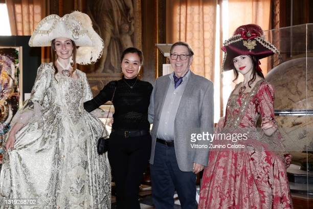 """Lea Qin and Jürgen A. Messmer attend the exhibition opening """"Leonismo"""" by artist Leon Loewentraut on May 21, 2021 in Venice, Italy. In the library,..."""