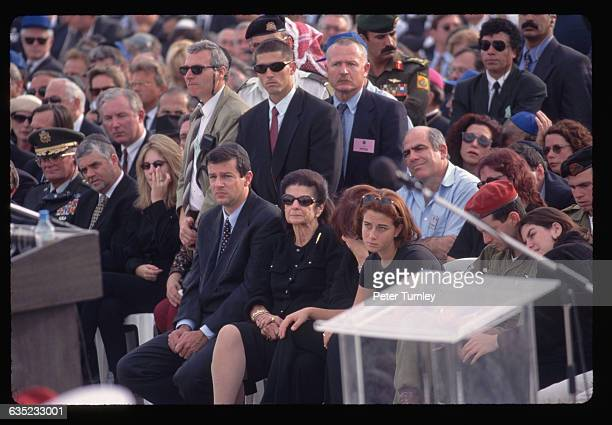 Lea Rabin widow of assassinated Israeli prime minister Yitzhak Rabin attends his funeral