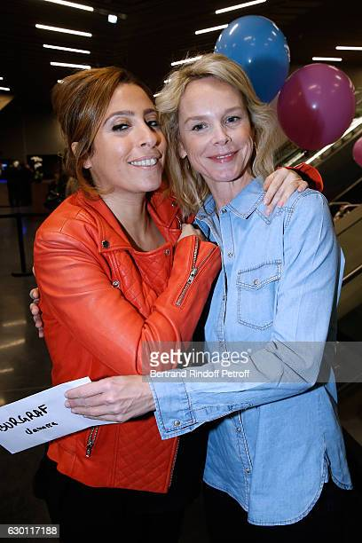 Lea Salame pregnant and Vanessa Burggraf attend Michael Gregorio performs for his 10 years of Career at AccorHotels Arena on December 16 2016 in...