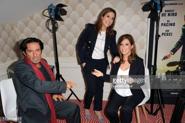Lea Salame with her Wax Work and Al Pacino Wax Work attend Lea Salame Wax Work Unveiling at Musee Grevin on February 14 2019 in Paris France