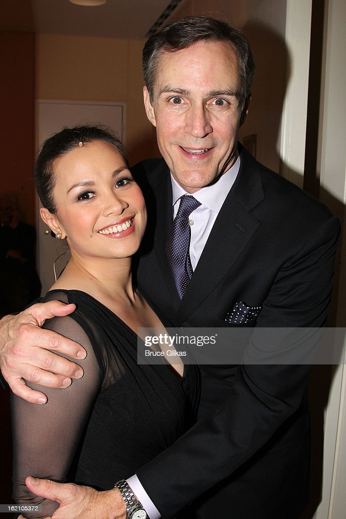 Lea Salonga and Howard McGillin pose backstage at 'Ragtime' on Broadway at Avery Fisher Hall on February 18, 2013 in New York City.