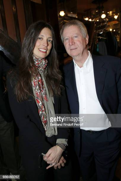 Lea Santamaria and Director Regis Wargnier attend the 83rd Prix Cazes de la Brasserie Lipp Literary Prize at Brasserie Lipp on March 22 2018 in Paris...