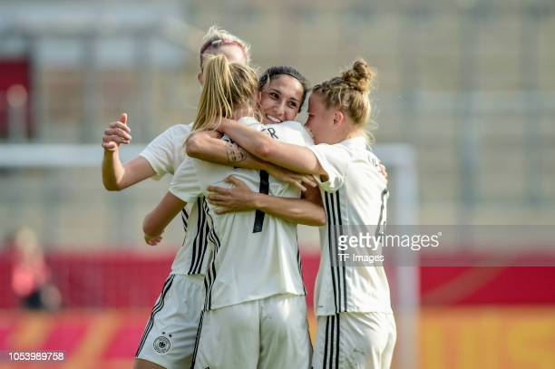 Lea Schueller of German Women National celebrates after scoring her team`s third goal with Sara Doorsoun of German Women National during the women...