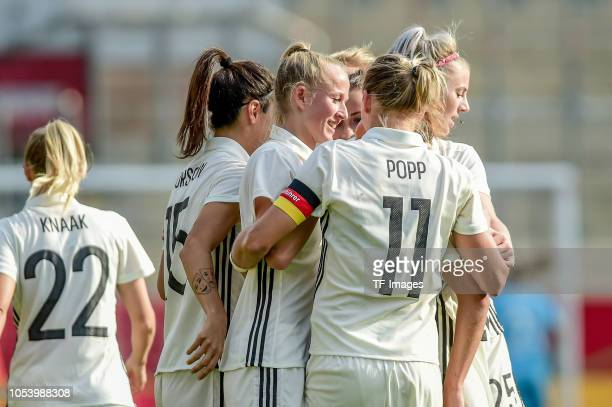 Lea Schueller of German Women National celebrates with her team mates during the women friendly match between Germany and Austria on October 5 2018...