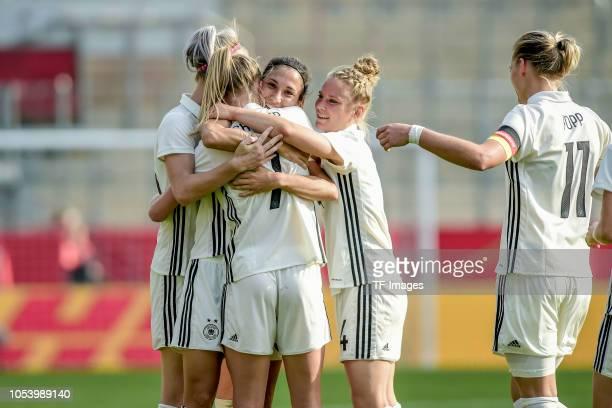 Lea Schueller of German Women National celebrates with Sara Doorsoun of German Women National during the women friendly match between Germany and...