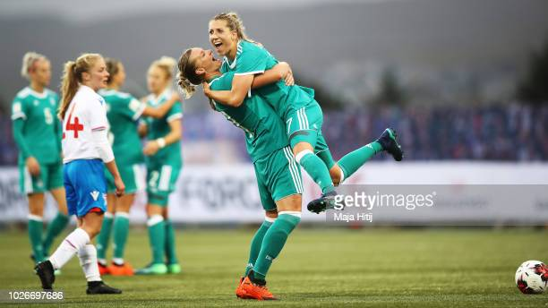Lea Schueller of Germany and Alexandra Popp of Germany celebrates after scoring a goal during the Faeroe Islands Women's v Germany Women's 2019 FIFA...