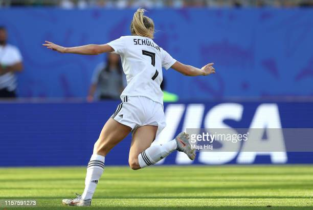Lea Schueller of Germany celebrates after scoring her team's third goal during the 2019 FIFA Women's World Cup France Round Of 16 match between...