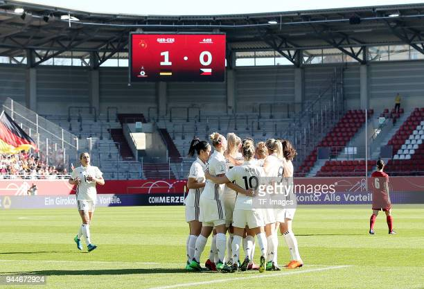 Lea Schueller of Germany celebrates after scoring his team`s first goal during the 2019 FIFA Womens World Championship Qualifier match between...