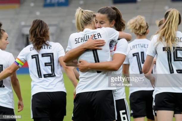 Lea Schueller of Germany celebrates after scoring his team's third goal with teammates during the FIFA Women's World Cup 2023 Qualifier group H match...
