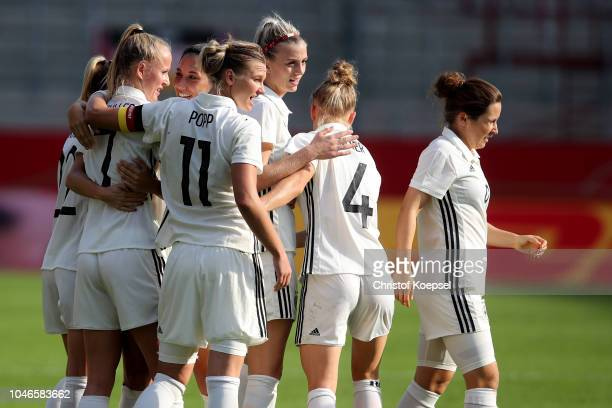 Lea Schueller of Germany celebrates the third goal with her team mates during the International friendly match between Germany Women and Austria...