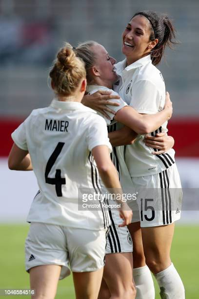 Lea Schueller of Germany celebrates the third goal with Sara Doorsoun of Germany during the International friendly match between Germany Women and...