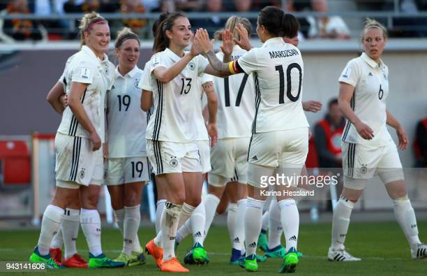 Lea Schueller of Germany celebrates the third goal with teammates during the 2019 FIFA Womens World Championship Qualifier match between Germany...
